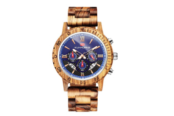 Select Mall Mens Wooden Watch Luxury Wood Strap, Chronograph, Calendar & Date Dispaly, Quartz Casual WristWatches Versatile Male Timepieces