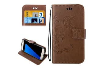 For Samsung Galaxy S7 EDGE Wallet Case  Butterfly Horse Leather Cover Brown
