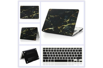 "Marble Frosted Matte Hard Case with Free Keyboard Cover for MacBook Pro 13"" 2016-2018 A1706 A1989 (With Touch Bar)-Black Marble"