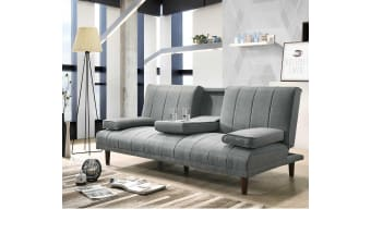 Fabric Sofa Bed with Cup Holder 3 Seater Lounge Couch - Light Grey