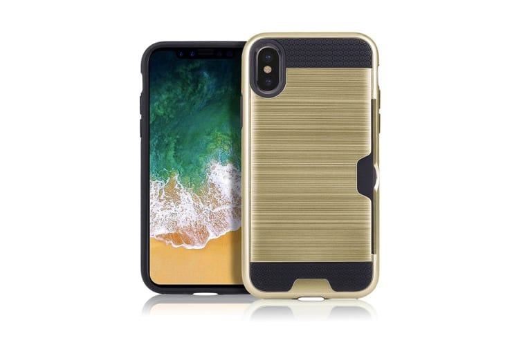 For iPhone XR Case Gold Brushed Metal Texture Shockproof Strong Cover