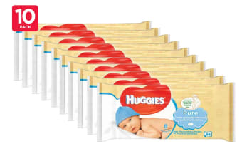 560 Huggies Pure Baby Wipes (10 x 56 Pack)