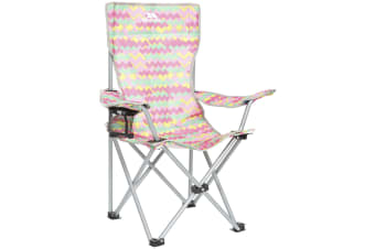 Trespass Childrens/Kids Joejoe Camping Chair With Carry Bag (Treadpink Print)