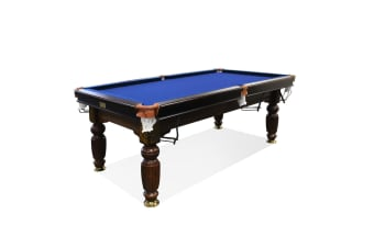 7FT Luxury Slate Pool Table Solid Timber Billiard Table Professional Snooker Game Table with Accessories Pack,Walnut Frame / Blue Felt