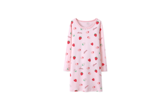 Nightgowns For Girls Cotton Pajamas Dresses Long Sleeve - Pink Pink 120Cm