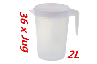 36 x Plastic Pitcher 2L with Lid Beer Water Juice Jugs Jug BPA FREE Dishwasher Safe