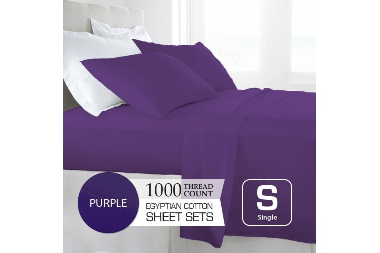 Single Size Purple 1000TC Egyptian Cotton Sheet Set