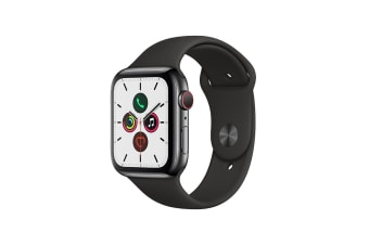 Apple Watch Series 5 (Space Black Stainless Steel, 44mm, Black Sport Band, Cellular)
