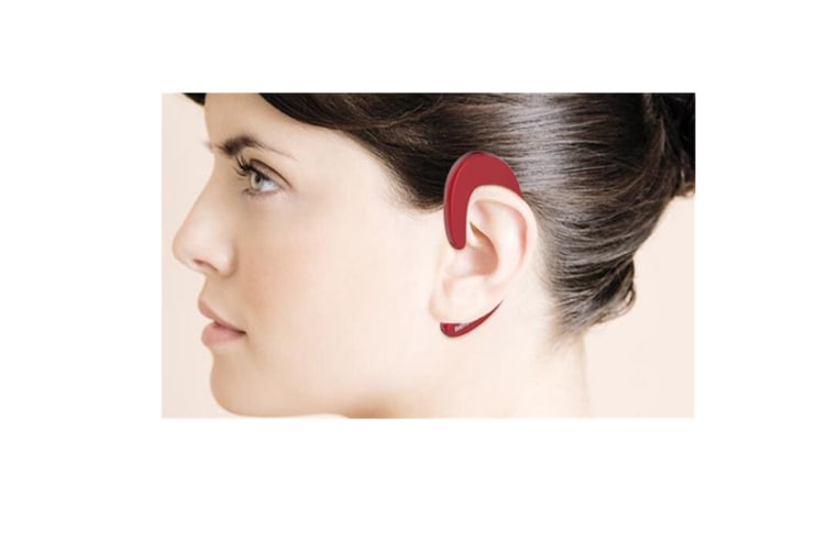 Select Mall Ultrathin Earhook Unilateral bluetooth Earphone Headphone With Mic-RED