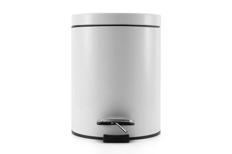 SOGA 4X 7L Foot Pedal Stainless Steel Rubbish Recycling Garbage Waste Trash Bin Round White