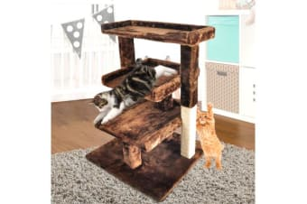87CM Cat Scratching Post Tree Gym House BROWN