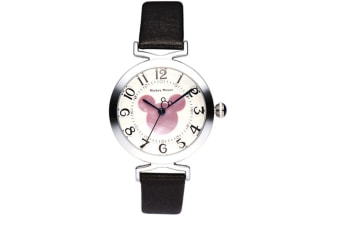 Select Mall Creative Belt Girl Watch Fashion Simple Cute Mickey Quartz Watch Stainless Steel and Leather Casual Quartz Watch-Black