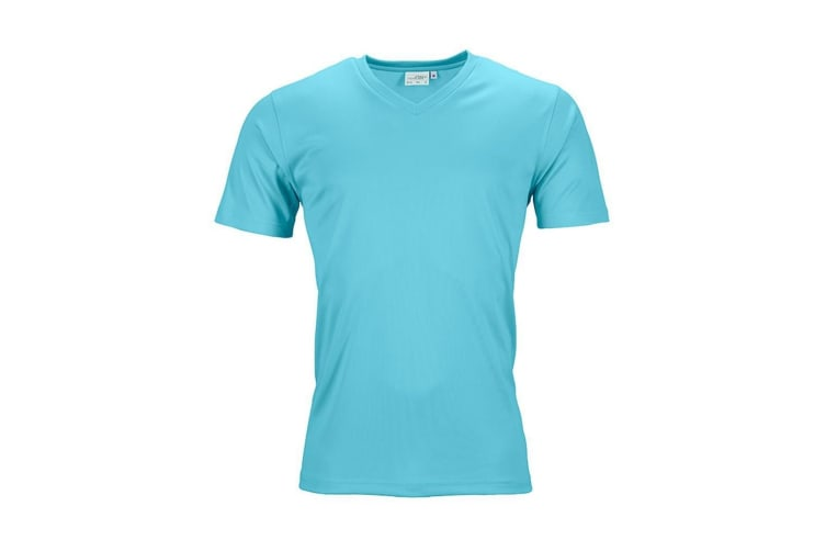 James and Nicholson Mens Active V Neck T-Shirt (Pacific Blue) (XL)