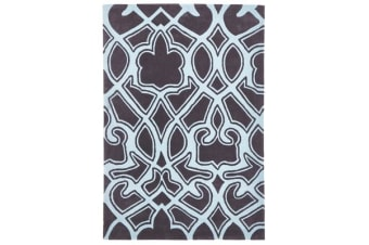 Gothic Tribal Design Rug Smoke Grey and Blue 165x115cm