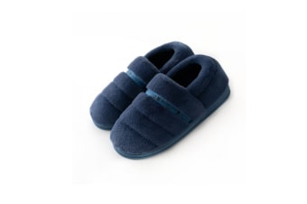 Unisex Comfy Fuzzy Knit Cotton Memory Foam House Shoes Slippers - Navy Blue 44-45
