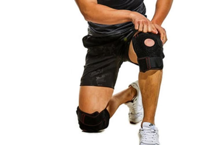 Select Mall 2PCS Adjustable OK Cloth Double Steel Knee Pads Strong Support Rehabilitation Sports Protection Patella-Black