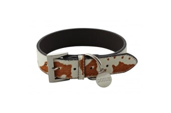 Dogue Collar Pony Hair Cow Leather Dog Collar (White/Brown)