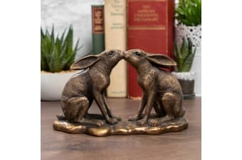 Reflections Bronzed Kissing Hares Ornament (Bronze) (One Size)
