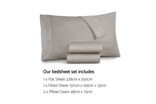 Giselle Bedding Double Size 1000TC Bedsheet Set - Grey