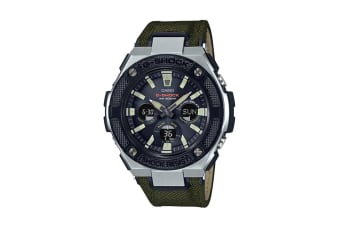 Casio G-Shock Analog Digital Watch G-Steel Series with Cloth / Tough Leather Band - Black/Green (GSTS330AC-3A)