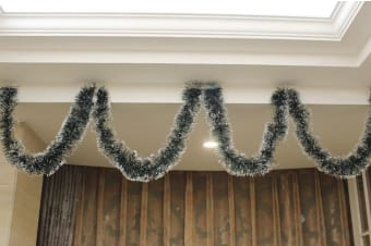 2x 2.5m Christmas Tinsel Xmas Garland Sparkly Snowflake Party Natural Home Décor - Snow Tips in Dark Green