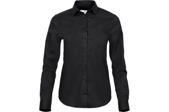 Tee Jays Womens/Ladies Luxury Stretch Shirt (Black) (XL)