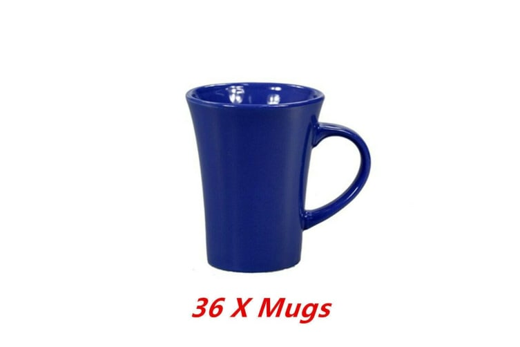 36 x Ceramic Tapered Mug Blue Coffee Mugs Drinking Tea Cup Tumbler Event Party