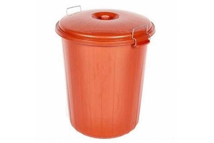 Saddlers Heavy Duty Dustbin And Lid with Clip (Red) (70L)