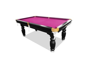 7FT Luxury Slate Pool Table Solid Timber Billiard Table Professional Snooker Game Table with Accessories Pack, Black Frame / Pink Felt