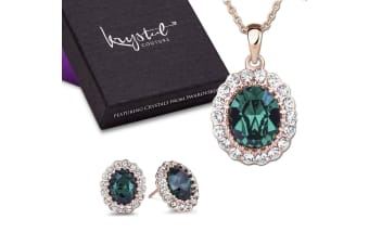 Gina Emerald Pendant and Earrings Set Embellished with Swarovski crystals