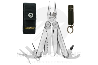 NEW LEATHERMAN WAVE PLUS + STAINLESS MULTITOOL + SHEATH + BONUS TORCH