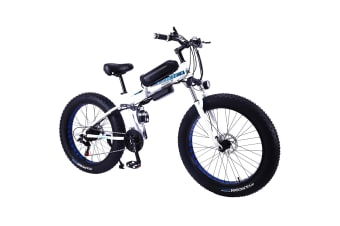 "TAOCI 350W 36V LH Snow Motorized Bicycle Beach Electric Bike eBike 26"" with Battery White"