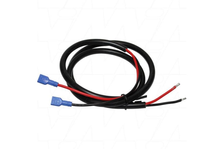 Large Male 6.35mm Spades to 14AWG 300V Twin Core Cable. 1000mm lead length
