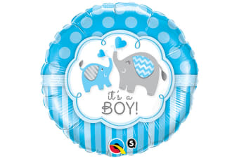 Qualatex 18 Inch Round Its A Boy/Girl Elephant Design Foil Balloon (Blue/White) (One Size)