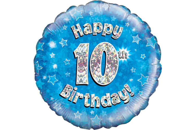 Oaktree 18 Inch Happy 10th Birthday Blue Holographic Balloon (Blue/Silver) (One Size)