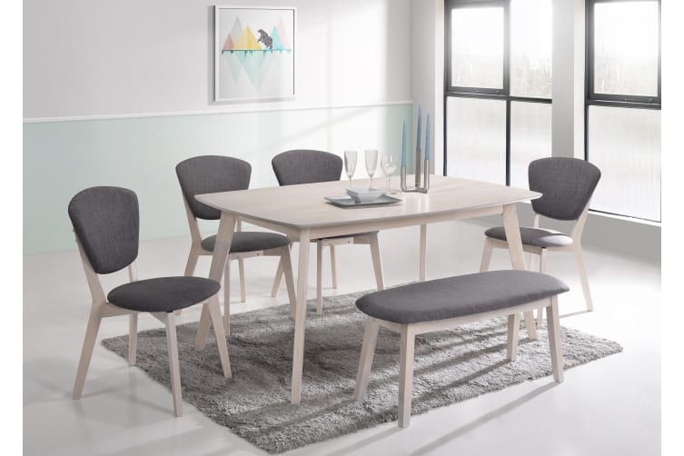 Dining Table 150 x 90cm Solid Wood 6 Seater Scandinavian - White Oak