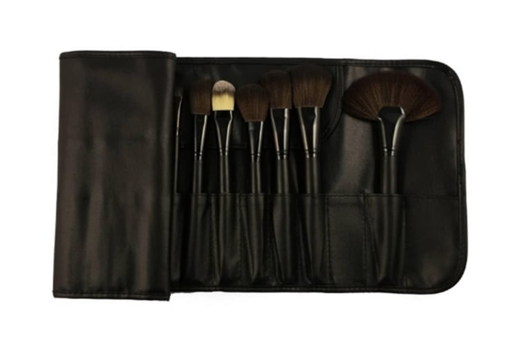 Makeup Brush Kit Eyebrow Shadow Lip Blush Brushes Cosmetic Set With Wood Handle 24 Pcs Black