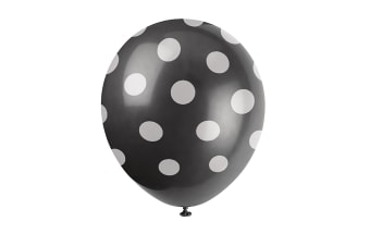 Unique Party 12 Inch Polka Dot Latex Balloons (Pack Of 6) (Black/White) (One Size)