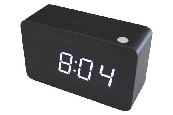 White Led Wood Grain Alarm Clock Temperature Display Usb