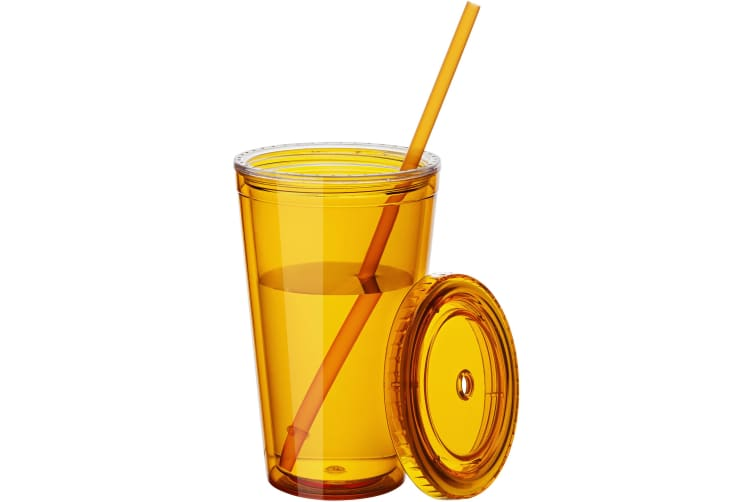 Bullet Cyclone Insulated Tumbler And Straw (Pack of 2) (Transparent Orange) (15.5 x 10 cm)