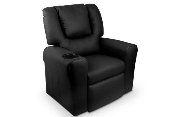 Kids Padded PU Leather Recliner Chair (Black)
