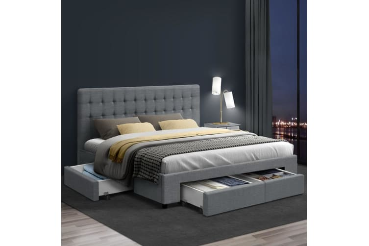King Size Bed Frame Base Mattress With Storage Drawer Fabric Wooden