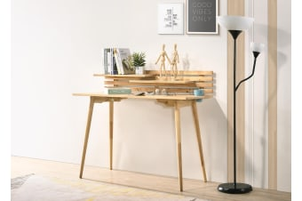 Scandinavian Style Solid Rubberwood Computer Desk Study Table Shelf in Natural Oak