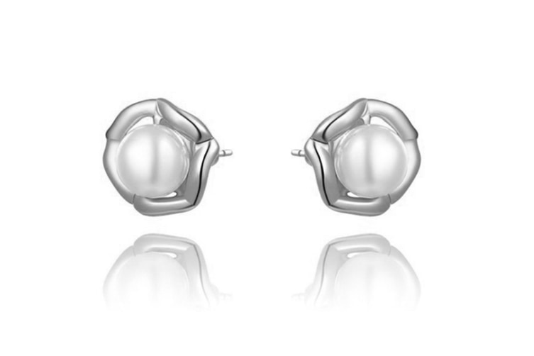 Pearl Rose Gold Plated Stud Earrings Silver