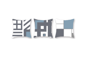 3Pcs Home Geometry Line Pillow Cover Living Room Office Sofa Cushion Cover - 4 Blue 45X45Cm