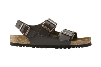 Birkenstock Unisex Milano Smooth Leather Sandal (Dark Brown, Size 43 EU)
