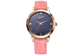 Select Mall Creative Stainless Steel and Leather Casual Quartz Watch Fashion Trend Cute Student Shiny Quartz Watch-Pink