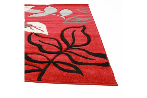 Stunning Thick Leaf Rug Red 290x200cm