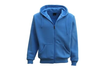 Adult Unisex Plain Fleece Hoodie Hooded Jacket Men's Zip Up Sweatshirt Jumper - Blue