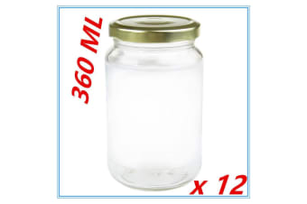 12 x Screw Top Round Favours Lolly Candy Conserve Jam Preserving Jar 360ml Glass Jars
